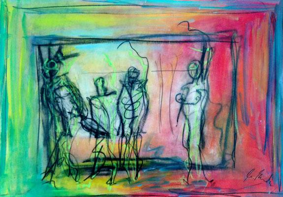 hang up somebody, oil on paper, 29,7 cm x42 cm
