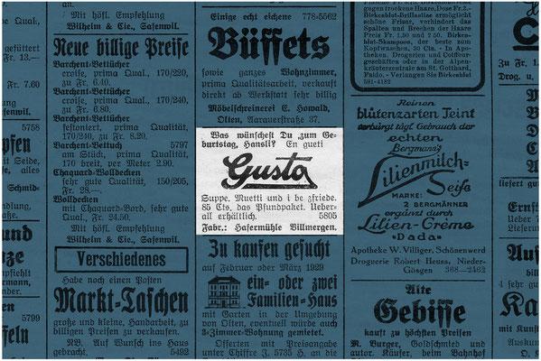 Werbung für Gusto-Haferflöckli aus dem Jahre 1928