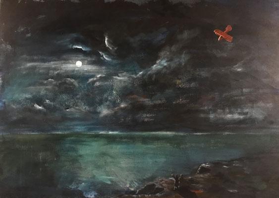 F. Radziwill und C.D. Friedrich am Meer (2018), Acryl auf Leinwand, 140x99cm
