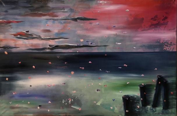 Out of the Blue (2021), Öl und Seidenmalfarbe auf Leinwand, 180x120cm