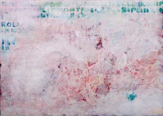 Disziplin und Kontrolle (2013), Acryl, Gips, Sand, Jute, Japanpapier auf Leinwand, ca. 140x100cm