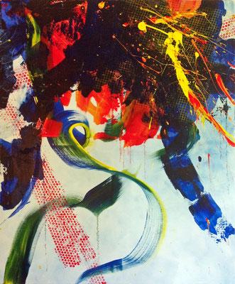 Schmitz' Katze im freien Fall (2015), ca. 100x120cm, Acryl auf Leinwand