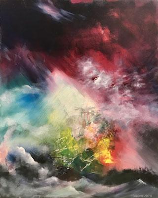 Stromboli (2018), Öl und Acryl auf Leinwand, 80x100cm