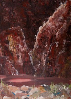 Schlucht (2002), Acryl auf Karton, ca. 100x140cm