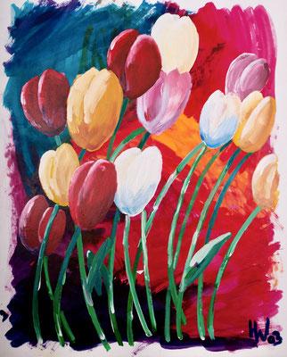 Tulpen (2003), Seidenmalfarbe und Acryl auf Karton, 110x140cm