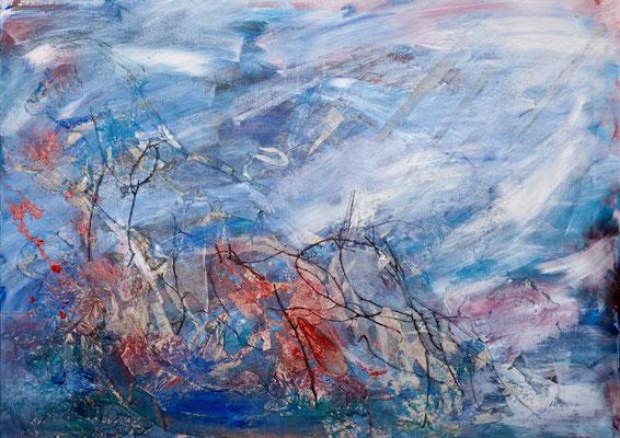 Treibgut (2005), Holz, Papier, Gaze, Zweige, Acryl auf Leinwand, ca.140x100cm