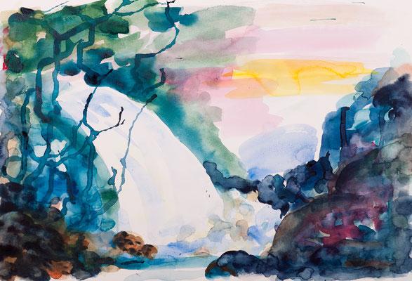Wasserfall (2015),  Aquarell, ca. 59x40cm