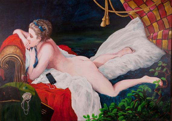 Marie-Louise O'Murphy attendant  Godot  (2016), Acryl auf Leinwand, ca. 170x120cm