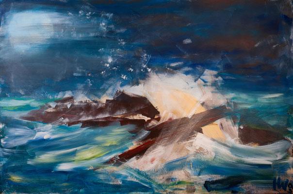 Schiffbruch (2003), Acryl auf Leinwand, 180x120cm