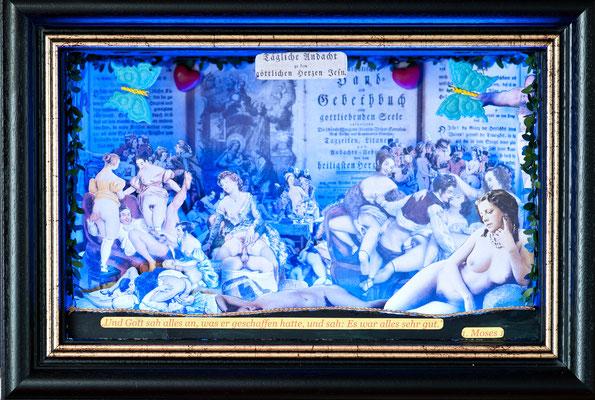 Tägliche Andacht (2014), beleuchtetes Diorama (Wechselbeleuchtung), ca.40x25x15cm