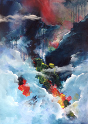 Götterdämmerung (2016), Acryl auf Leinwand, 100x140cm