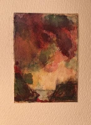 Gewitterwolken (2018), Aquarell auf benutztem Teebeutelpapier, 4,6x6,5cm