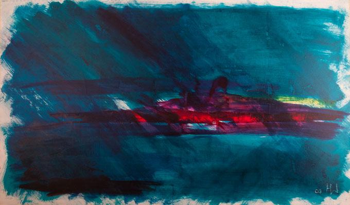 Feuerland (2003), Seiden-Malfarbe auf Karton, 150x90cm