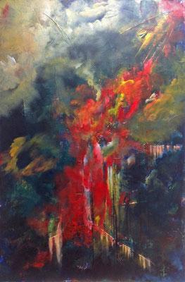 Unheimliche Begegnung (2015), Acryl auf Hartfaser, ca. 96x143cm