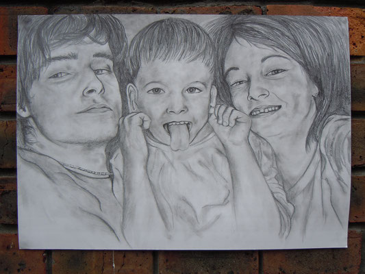 Adela and her brothers, Pencil on Paper, 420 x 594 mm (A2), 2010