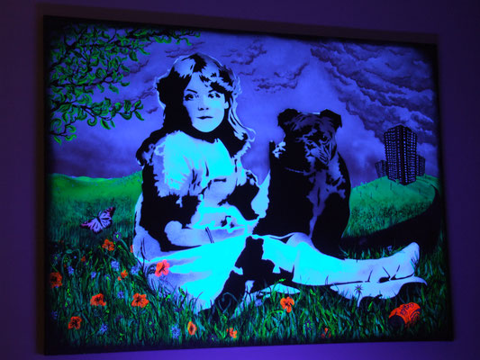 Beauty and the Beast, Acrylic paint & Spray Paint on Canvas, 2010 under UV light