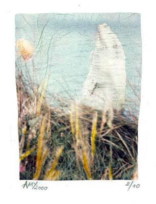 """Série Etretat 2000, """"L'Aiguille creuse"""", techniques mixtes, transfert d'émulsion,  © Annick Maroussy"""