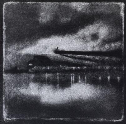 FÉCAMP -Quai Bérigny, Impression, Monotype, tirage au charbon direct, bichromie, 2020. Format image 15x15cm sous passe-partout 30x30cm. ©Annick Maroussy Amy