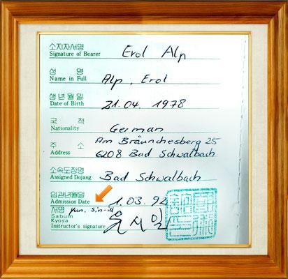 Großmeister Yun Sin-Ill als Prüfer in Erol Alp´s Hapkido-Pass