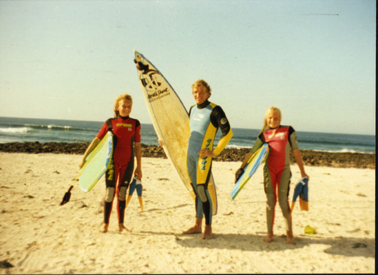 with Bitsy and Sonni , Northshore Fuerteventura ca. 1987