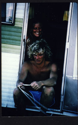 Ute and Jürgen with their camper , Oahu Hawaii 1978