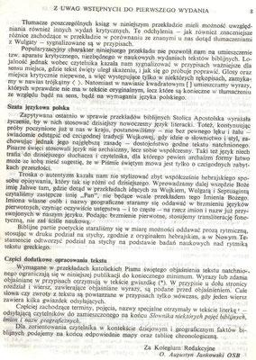 Biblia Tysiąclecia, wydanie II. Uwagi wstępne.