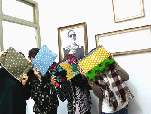 bolso de mano (clutch) con nuestras telas japonesas