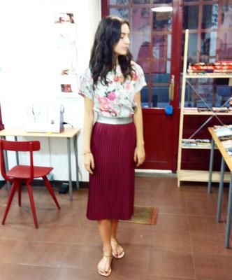 falda con plisado soleil
