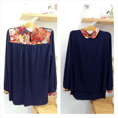 blusa con detalles con nuestras telas japonesas