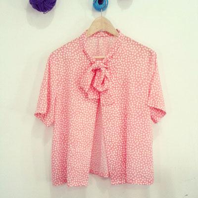 blusa polka de seda