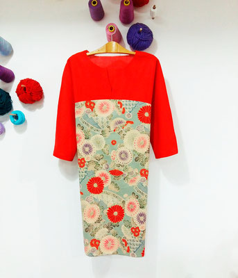 vestido con nuestras telas japonsas