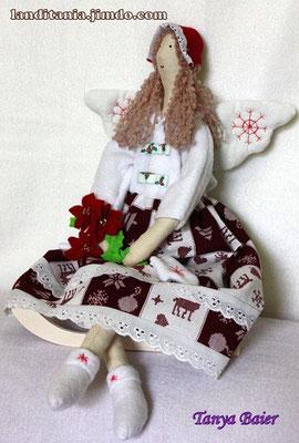 """Фея с цветком""""рождественская звезда"""", фея Рождества, текстильная кукла, новый год,праздник"""