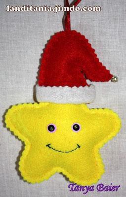 Ёлочные игрушки из ткани, прянички, звезды