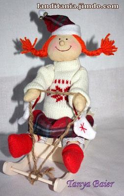 Рождественкий гном на санках, кукла, текстильная кукла, новый год