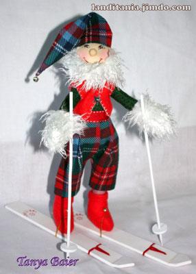 Рождественкий эльф на лыжах, кукла, текстильная кукла, новый год
