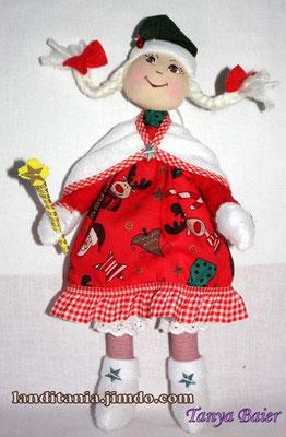 Рождественкий эльф со звездой, кукла, текстильная кукла, новый год