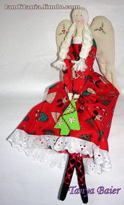 Фея с нарядной ёлочкой, фея Рождества, текстильная кукла, новый год,праздник