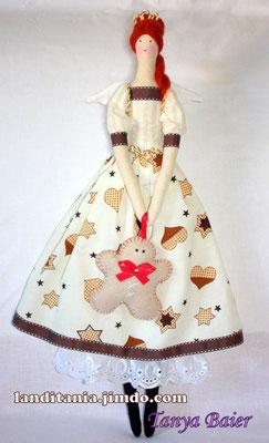 Рождественская фея с пряничным человечком, фея Рождества, текстильная кукла, новый год,праздник