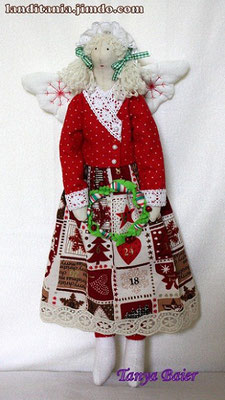Фея с рождествеским венком, фея Рождества, текстильная кукла, новый год,праздник