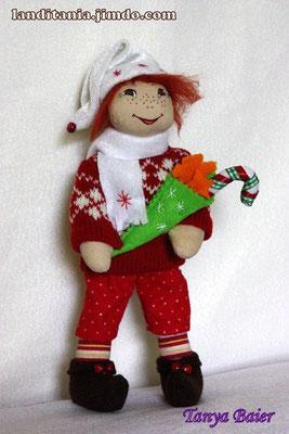Рождественкий эльф с подарком, кукла, текстильная кукла, новый год