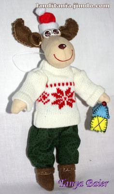 Рождественкий лосик с фонариком, кукла, текстильная кукла, новый год