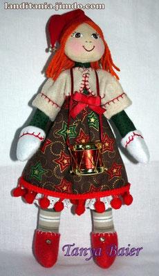 Рождественкий эльф с барабаном, кукла, текстильная кукла, новый год