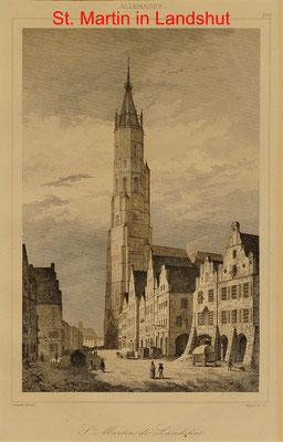 DL 335 - Landshut, Martinikirche +Straßenansicht, Sst. BI 1837-17x11(21x13) = 35 EUR