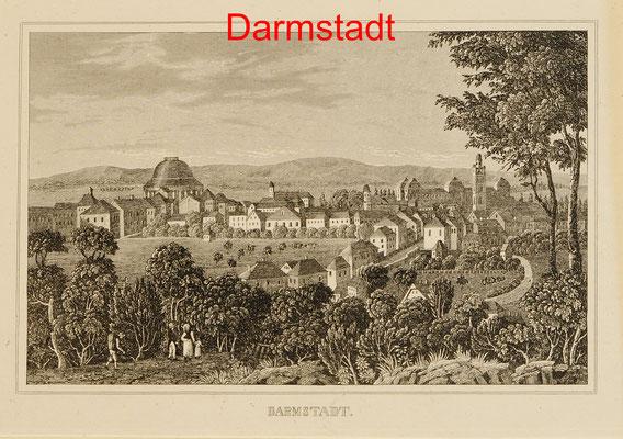D 98 - Darmstadt, Ansicht --Sst. um 1850 -11x16 (14x23) = 58 EUR