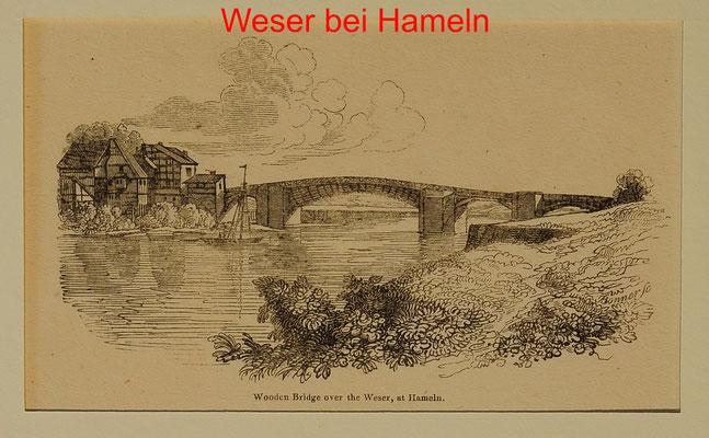 DH 213 - Hameln, Weserbrücke, engl. Hst. um 1850-mit Text- 7,5x12,5(26,5x20) = 10 EUR