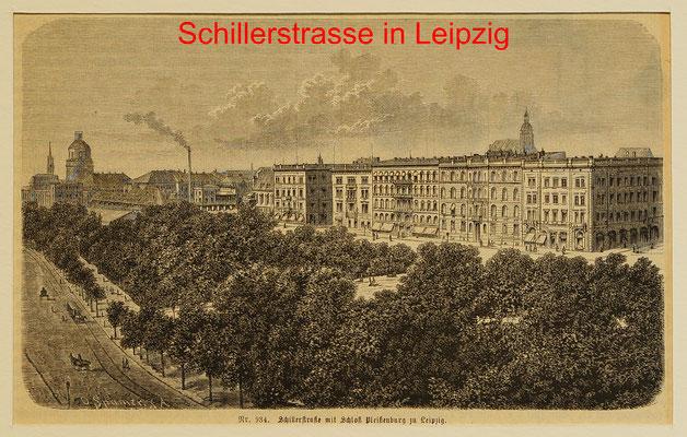 DL 343 - Leipzig, Schillerstraße-mit Schloßansicht Pleißenburg, Hst. nach o. Spamer 1885-11,5 x18,5(12,5x19,5) = 12 EUR