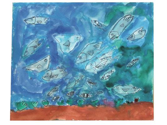墨汁で描く〜魚〜