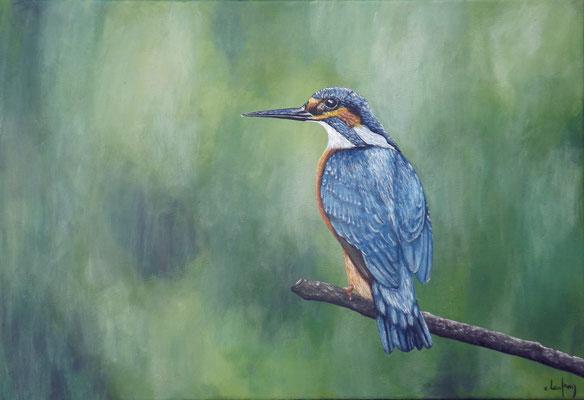 """""""Martin-pêcheur"""" - acrylique - 55 x 38 cm"""