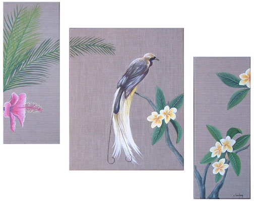 """Un coin de paradis"" - acrylique - (20 x 50 cm) + (40 x 50 cm) + (20 x 50 cm)"