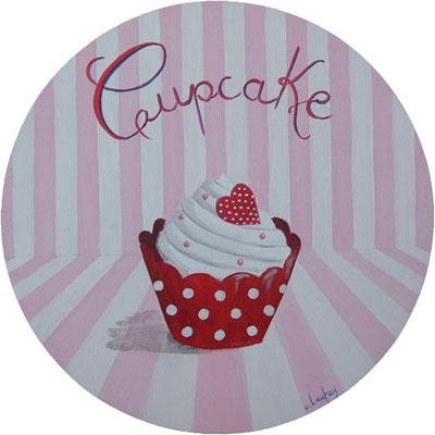 """Cupcake américain"" - acrylique - diamètre 30 cm"